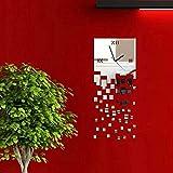 Yesurprise Pendule Murale Design DIY Horloge Magnifique en Acrylic Carré Argenté