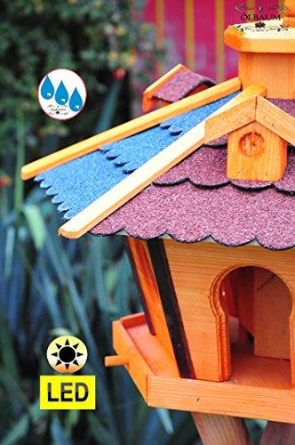 Futterhaus,Vogelhäuser wetterfest, mit Ständer Standfuß und Silo,Futtersilo für Winterfütterung mit Beleuchtung,Licht-LED -Holz Nistkästen & Vogelhäuser- ROT + BLAU E mit Ständer BRL60r-bEMS - 3