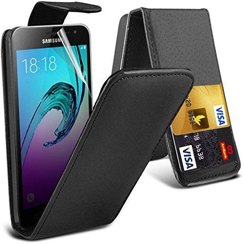 Fone-Case High Quality Black Vodafone Smart Platinum 7 Hülle Abdeckung Cover Case schutzhülle Tasche Executive-Flip Cover aus Kunstleder mit 3 Kreditkartenhalter Slots, 1 Schirm-Schutz