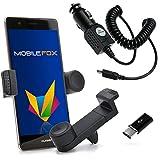 Mobilefox KFZ Handy Lüftungshalterung 360° verstellbar inkl. Micro-USB Ladekabel SET für Huawei P10/P9/Nova/Plus Schwarz
