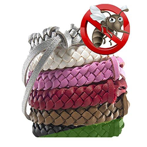 Mückenschutz-Armbänder 5pc Stilvolle Leder-Bänder, langanhaltender Schutz gegen Mücken und Insekten, ohne DEET, kein Spray, für Kinder/Babys/Erwachsene