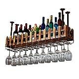 AnnJPJ Weinglasregal, Holzzaun Verschobene Decke Installation Verstellbaren Boom Weinglas Umgedreht Weinlagerung Für Bar Familienlager (größe : 60 * 20cm)