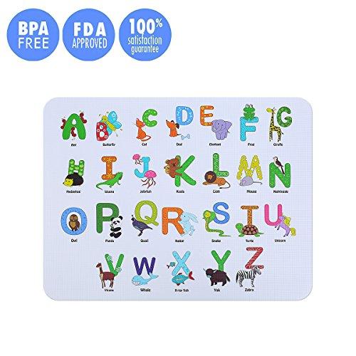 Kuke Platzdeckchen aus Nahrungsmittelgrad Silikon für Kinder Baby,BPA-frei, Anti-Rutsch Abwaschbar Platzset, Hitzebeständige Zusammenklappbar Tischsets (Alphabet-Muster)