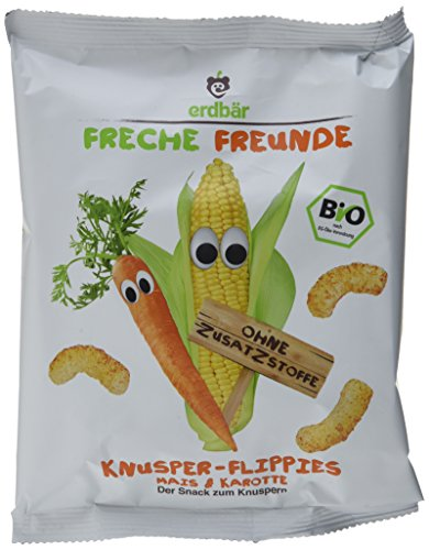 Freche Freunde Bio Knusper-Flippies Mais & Karotte, 10er Pack (10 x 25 g) Ganze Karotten