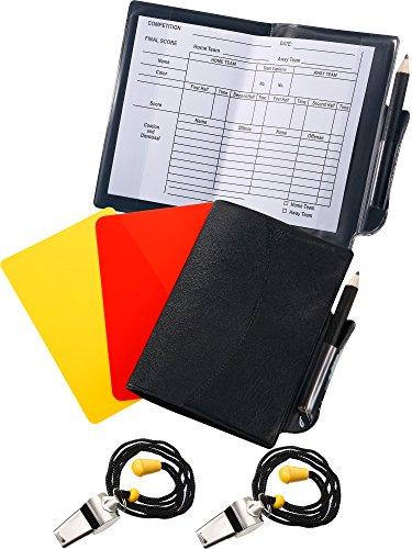 Blulu 2 Sport Fußball Schiedsrichter Karten Set Rote Karte Gelbe Karte mit 2 Stück Metall Schiedsrichter Trainer Whistles