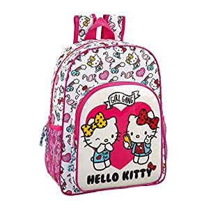 Hello Kitty Mochila Grande Adaptable a Carro, 42 cm, Rosa/Blanco