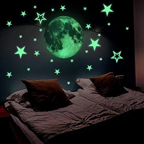 FESKIN 30cm Luna Adesivi da Parete fluorescenti e brillanti al buio + 26 Pezzi Stelle Decorazione da Parete – Casa Camera da Letto Soggiorno, Regalo di Feste Natale Compleanno per Bambini - 3