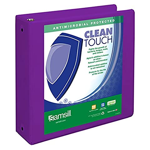 Samsill Clean Touch Round Ring View Fashion Binder Protected by Antimicrobial Additive, 3 Ring Binder, 3 Inch, Customizable Clear View, Purple
