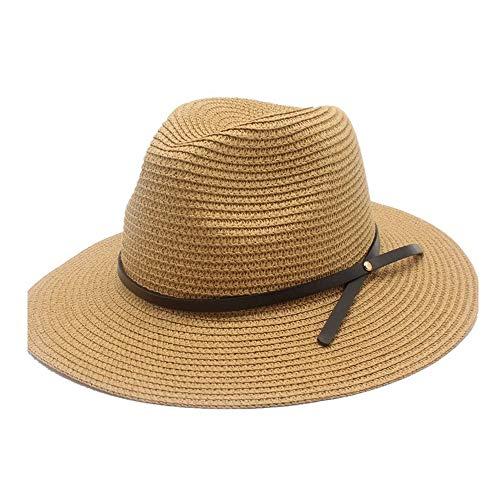YUWEN 2019 Mode Herren Damen Stroh Sonnenhut Leder Bandwidth Cap Jazz Top Hut Lässig Outdoor UV Schutz Strand Hut Breiter Krempe (Farbe : Khaki, Größe : 56-58CM) -