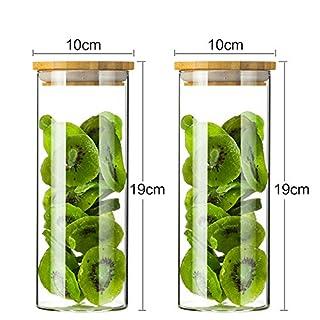 Getreidebehälter Glasgläser Klare Lagerbehälter Aufbewahrung für Trockenfutter Trockenfrüchte Glasflaschengläser Ofen Mikrowelle Gefrierschrank Sicher (1000ML x 2)