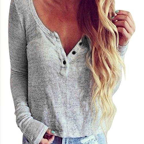 Vovotrade Frauen V-Ausschnitt Casual Knit Bluse Langarm Shirt (Size:M, Grau)