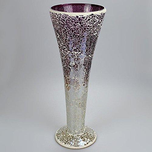 Angraves 40cm Lavender Sparkle Mauve Mosaic Trumpet Vase