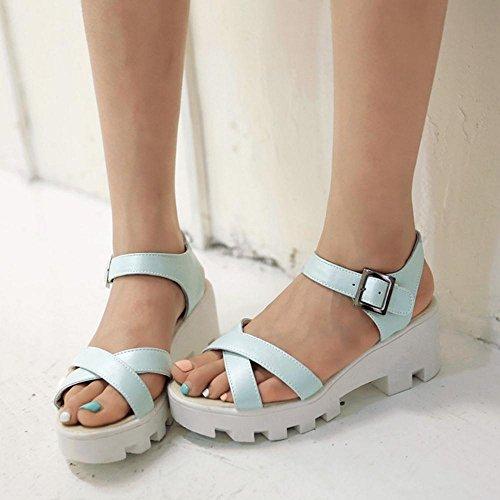 TAOFFEN Femmes Chaussures Confortable Bloc Talons Moyen Plateforme Sandales De Boucle Bleu