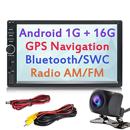 Panlelo S1+NV Autoradio con Touch Screen DIN Full HD da 2 trattini, Android Touchscreen, telecamera, navigazione GPS, Car Stereo, Quad Core 1 GB+16 GB, Bluetooth, WiFi, Radio Am/FM, SWC