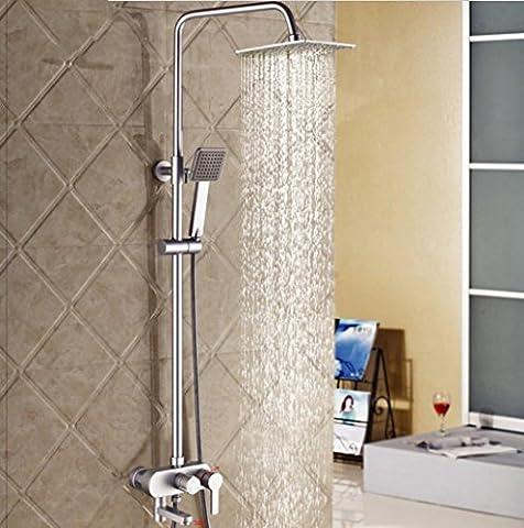 Caribou Platz Aluminium Set Höhenverstellbar Badezimmer Luxus Regen Mixer Dusche Combo mit Ultra-flexible Edelstahl Schlauch
