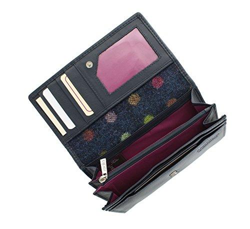 Pelle Mala Leather Collection ABERTWEED & Tweed Flap Negli borsa 3175_40 rosa confetto Navy Spot