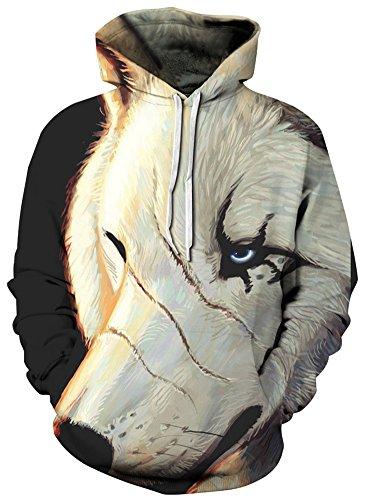TDOLAH Herren Kapuzenpullover Schwarz Sweat Hoodie Digitaldruck Sweatshirt Pullover (XXL / 3XL (Brustumfang: 128-148CM), Narben weißer (Hipster Ideen Kostüme Halloween)