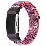 Semoic Accessoire de Remplacement de Bandes en Nylon des Femmes des Hommes Bracelets de Sangle pour Fitbit Charge 2(Petite Taille Rouge)
