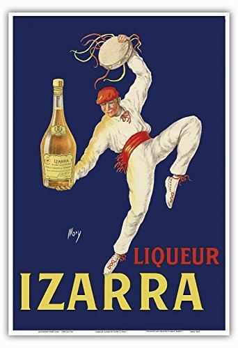 Likör Izarra - Großartiger Likör aus dem Baskenland - Traditioneller baskischer Tänzer mit roten Gerriko (Hüftband) und Txapela (Baskenmütze) - Altes Vintage Retro Werbe Plakat von Mory c.1930s - Kunstdruck - 33cm x 48cm