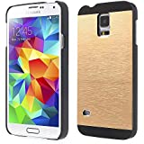 Samsung Galaxy S5|S5 NEO Phone Gold Aluminum Metal Back Luxury Case Hard Cover with Black Frame (Galaxy S5|S5 NEO, Gold)