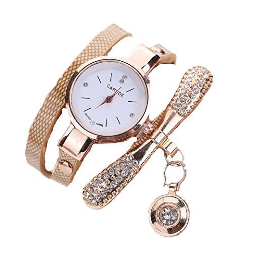 Ouneed® Uhren, Damen Leder Strass Analog Quarz Armbanduhren (Beige)