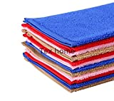 #4: Tex Home Set of 12 Microfibre Towel Cloth for Cleaning Cars, Bike, Furniture, Home, 30 cm * 30 cm, Red, Blue, Brown, Pink