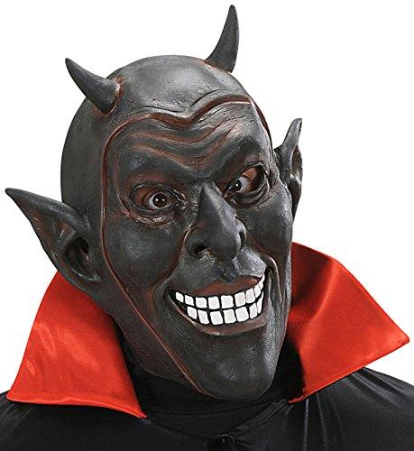 Maske Teufel Smiley, Schwarz, Einheitsgröße (Smiley Latex Maske)