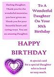 Tochter 30. Geburtstag Karte mit abnehmbarer Laminat