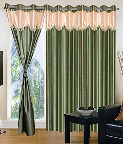 Super India Designer Faux Silk 3 Pieces Eyelet Door Curtain, Polyester Plain Ringtop - 4 x 7ft in Green