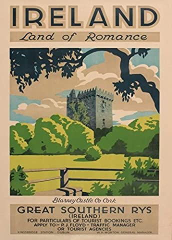 Vintage Travel IRELAND LAND OF ROMANCE with GREAT SOUTHERN RAILWAYS Blarney Castle, County Cork c1930 250gsm Gloss ART CARD A3 Reproduction