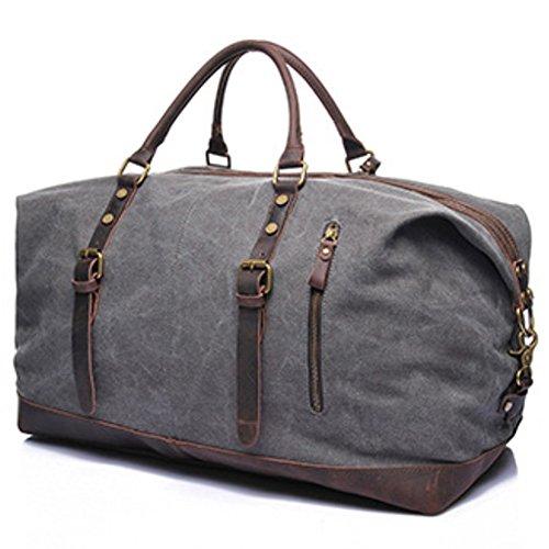 Tancurry vintage Canvas Reisetasche Sporttasche weekender Tasche Handgepäck für Damen und Herren mit Groß Kapazität - Dunkelgrau Grau