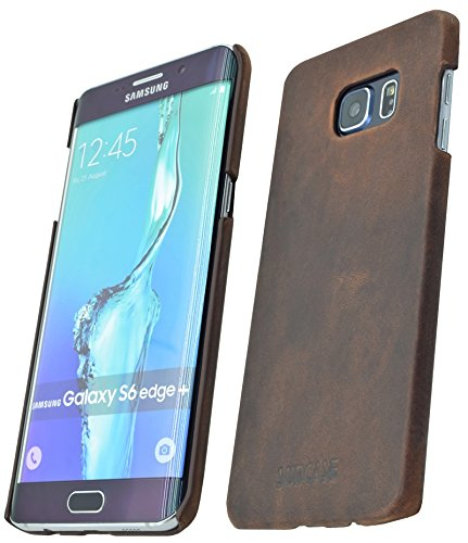 Samsung Galaxy S6 Edge + Plus (SM-G928F) - Original SunCase ® (Backcover) Tasche Schutzhülle Hard Case aus echtem Leder in antik coffee