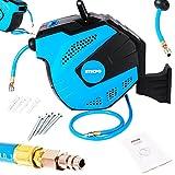 TecPo Druckluftschlauch Aufroller Automatik 15m + 1.5m PVC Schlauch Schlauchtrommel Schlauchafroller Druckluft-Werkzeug max. 20 Bar