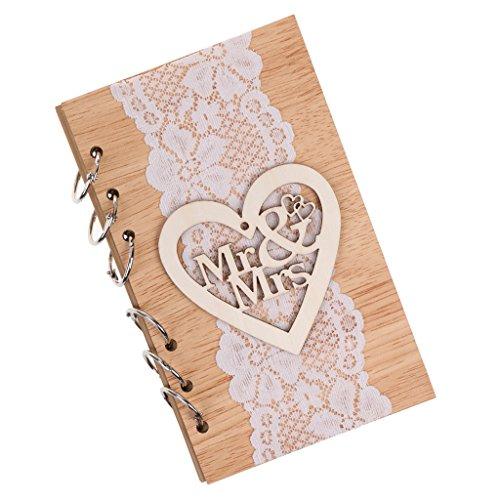 Preisvergleich Produktbild Gazechimp Rustikale Hochzeit Gästebuch Notebook Mit Kraft Blatt Holzabdeckung - Spitze Herz Mr&Mrs, 10 x 18 cm