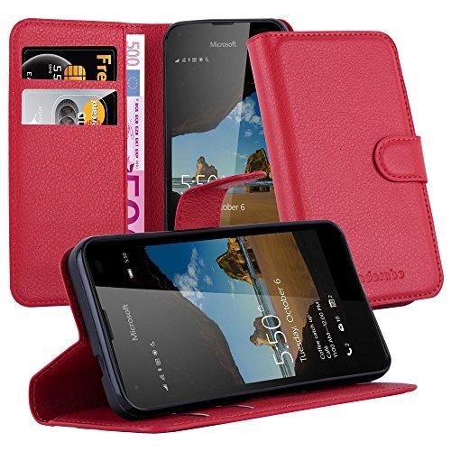 Cadorabo DE-105712 Nokia Lumia 550 Handyhülle mit Kartenfach und Standfunktion Rot