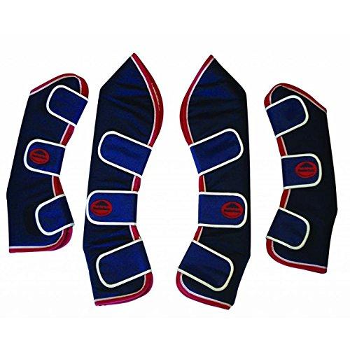 Weatherbeeta Gamaschen, erhältlich in verschiedenen Farben und Größen, 4 Stück NAVY WITH RED AND WHITE TRIM COB SIZE -