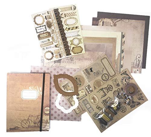 Scrapbooking-Set mit Verzierungen, Washi-Tape und viele Stanzformen braun
