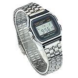 Wrist Watch - SODIAL(R)Classic Retro Style Women Digital Metal LCD Men Vintage Wrist Watch Silver