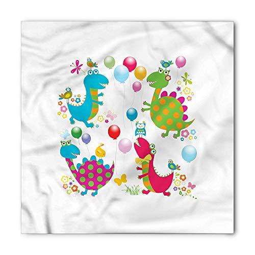 VVIANS Dinosaur Party Bandana, Balloons Birds, Unisex Head and Neck Tie M100*100CM -