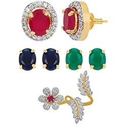 Jewels Galaxy Circular 6 in 1 Interchangeable Fancy American Diamond Earrings And Multi-Finger Floral Ring