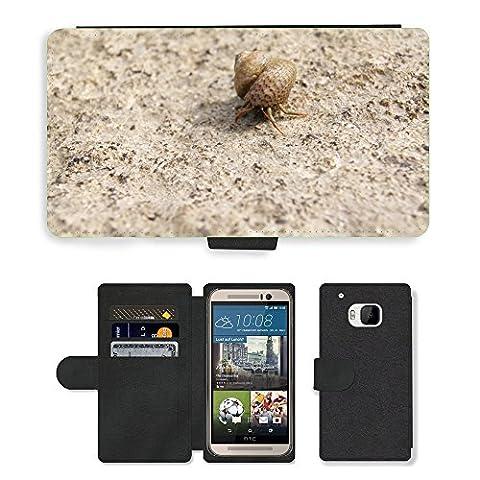 hello-mobile PU LEDER LEATHER FLIP CASE COVER HÜLLE ETUI TASCHE SCHALE // M00136633 Einsiedlerkrebs Shell Snail Meer Natur // HTC One M9