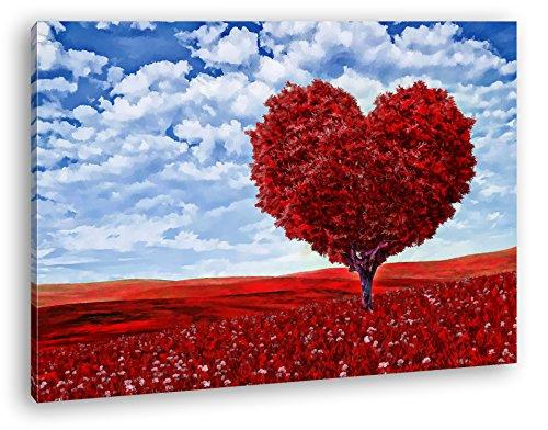 Romantischer Baum in Herzform Format: 80x60 Effekt: Zeichnung als Leinwandbild, Motiv fertig gerahmt...