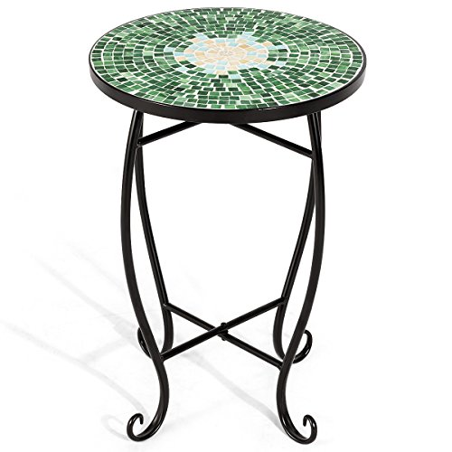 COSTWAY Mosaic Table| Plant Flower Stand| Round Side Table 4 Patterns in, 36 CM Balcony, Bistro, Terrace, Living Room, Conservatory, Garden, Outdoor, Gift (Green)