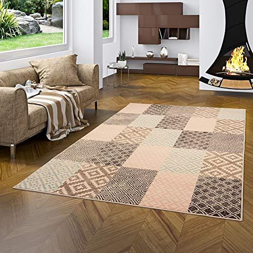 Pergamon Designer Teppich Passion Pastell Patchwork Rosa Beige in 5 Größen