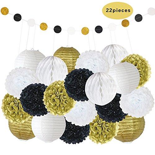 Niceclub Dekorative Papier-Pompons, Blumenmotiv, zum Aufhängen, Wabenbälle, Hochzeit, Geburtstag, Taufe, Mädchen, Babyparty, Dekoration, 22 Stück