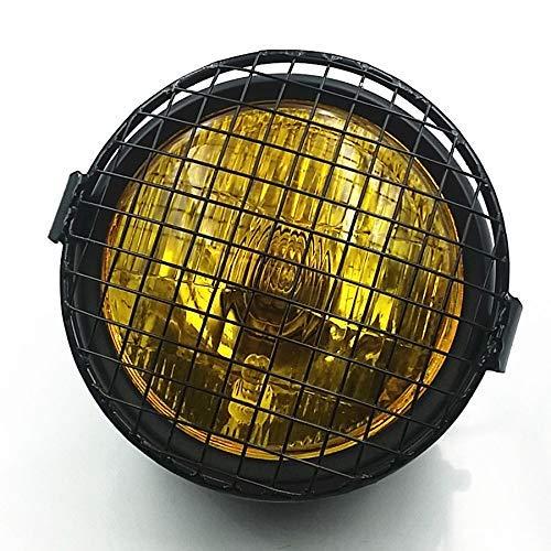 Grill Vintage Motorrad Side Mount Scheinwerfer Kopf Licht Lampe für Cafe Racer Bobber Cruiser CB GN 125 XL Benutzerdefinierte (Schwarz/Bernstein) Cafe Racer