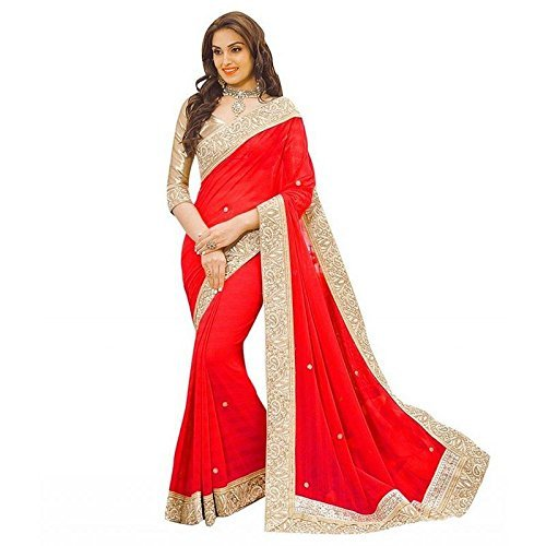 Ideal Trendz Chiffon Silk Saree With Blouse Piece (I Priya Red_Red_Free Size)