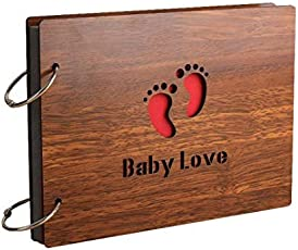 Comeonbaby 'BabyLove' Wood Pasted Photo Album (22 cm x 16 cm x 4 cm, Brown)
