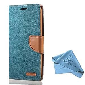 CZap Mercury Canvas Diary Card Denim Wallet Flip Cover Back Case for Samsung Galaxy Core Prime - Green