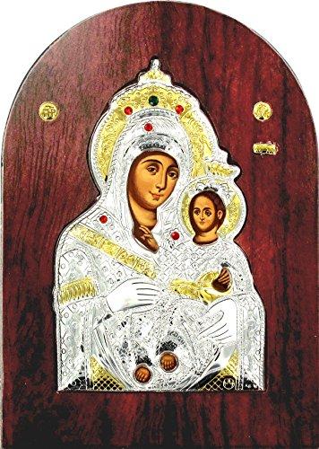 Ferrari & Arrighetti Griechischer Bogen aus 925er Silber auf Holz mit goldenen Details und Kristallen 26 x 20 cm - Madonna von Betlemme